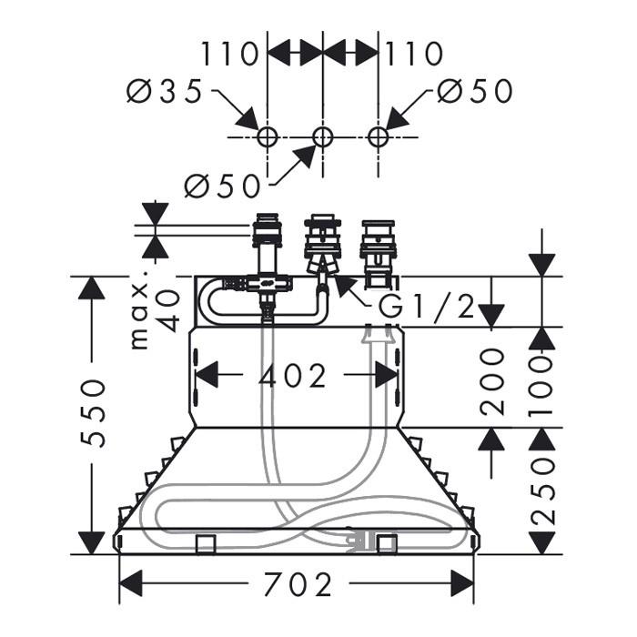 Внутренняя часть смесителя Hansgrohe  красный 13437180 Поддон для душа Sturm DW ETTA/OBLIC/LOOK/TIME/SKY 90x90x7